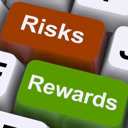 investment risks: Risks Rewards Keys Showing Payoff Or Roi