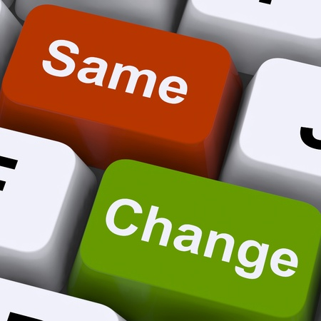 evolve: Change Same Keys Showing Decision And Improvement Stock Photo