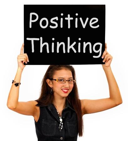 楽観: 楽観主義との信念を示す肯定的な思考の記号 写真素材