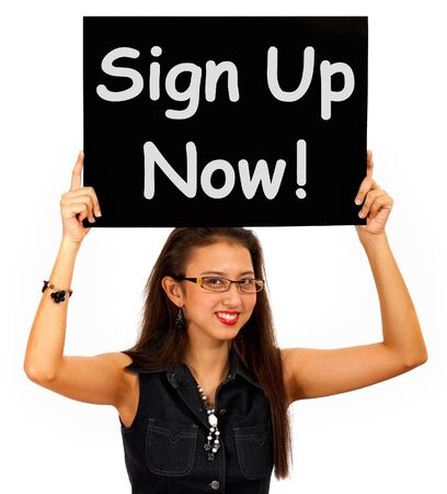 join: Sign Up Now Message Showing Immediate Registration  Stock Photo