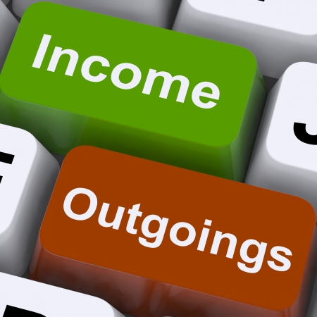 budgeting: Income Outgoings Keys Showing Budgeting And Bookkeeping