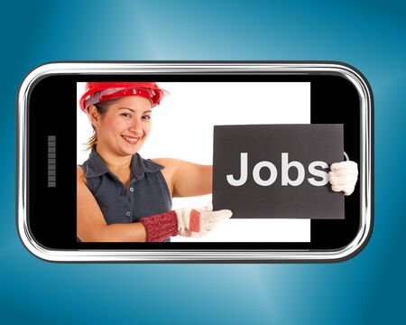 Jobs Sign With Construction Worker Showing Careers Online photo