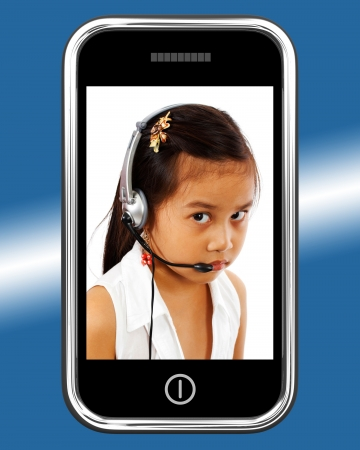 Child With Headset Talking Over The Internet photo