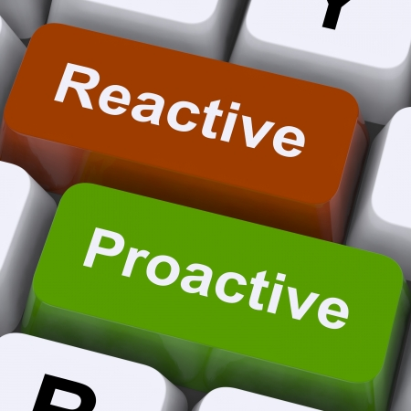 Proactive And Reactive Keys Showing Initiative And Improvement photo