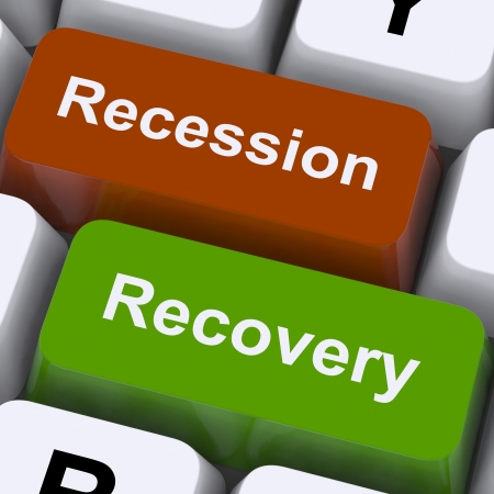 economic depression: Recession And Recovery Keys Showing Upturn Or Downturn