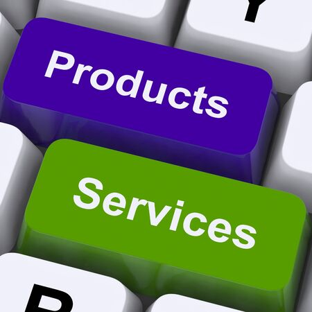 selling service: Products And Services Keys Showing Selling And Buying Online