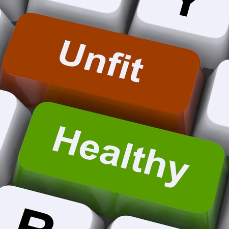 unfit: Healthy And Unfit Keys Showing Good And Bad Lifestyle Stock Photo