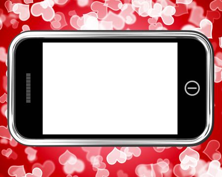 Blank Mobile Phone Screen With A Hearts Background photo
