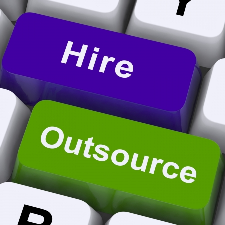 offshoring: Outsource Hire Keys Showing Subcontracting And Freelance Workers Stock Photo
