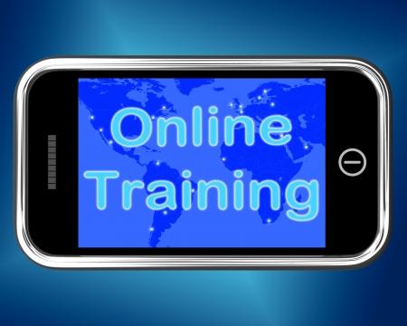 curso de capacitacion: Mensaje de Formaci�n Online Mobile Learning Mostrando Internet Foto de archivo