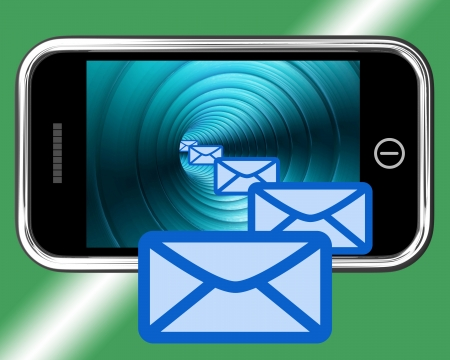 contacting: Email Envelopes On Mobile Screen Showing Emailing Or Contacting