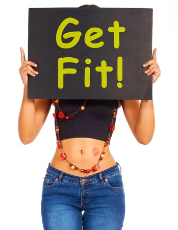 Get Fit Sign Showing Exercise And Working Out For Fitness photo