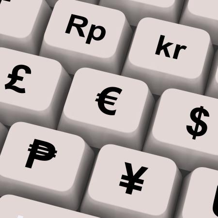 handel: W�hrungssymbole Auf Computer Keys Zeige Wechselkurs und Finanzen
