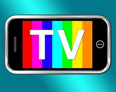 digital television: Mobile Color Digital Television On Smartphone Stock Photo