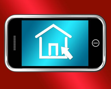 rentals: House Symbol On A Mobile Shows Real Estate Or Rentals