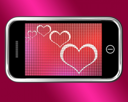 Hearts On Mobile Phone Showing Love And Online Dating photo