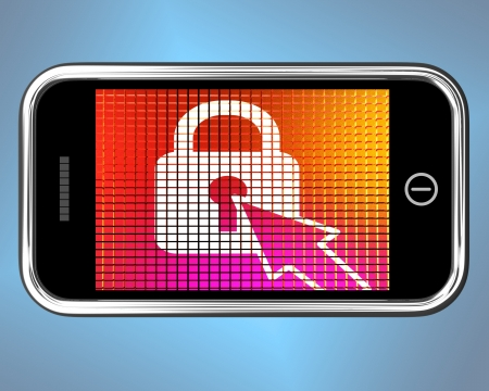 Locked Padlock Mobile Screen Showing Access Protected Stock Photo - 14562391