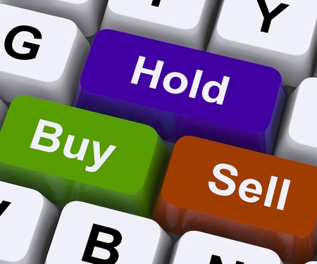 sell shares: Buy Hold And Sell Keys Representing Market Strategy