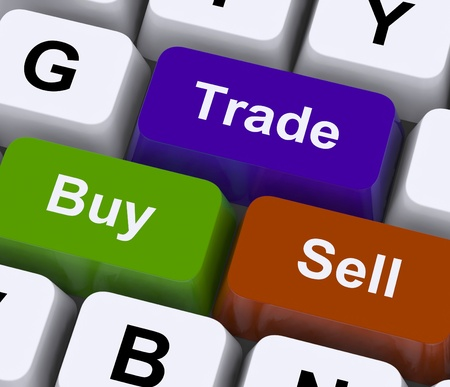 online transaction: Buy Trade And Sell Keys Representing Commerce Online