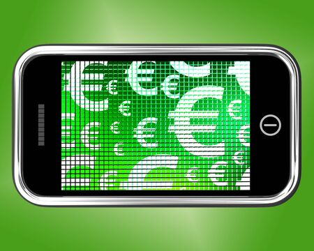 Euro Symbols On A Mobile Screen Showing Money And Investment Stock Photo - 14562190
