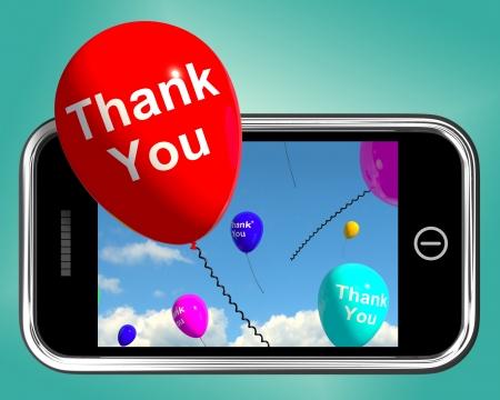 agradecimiento: Gracias Mensaje Enviado Gracias globos en un m�vil
