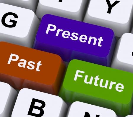 evolucion: Pasado Presente y Futuro claves que muestran la evoluci�n o el envejecimiento Foto de archivo