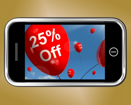 Mobile With 25% Off Sale Discount Balloons photo
