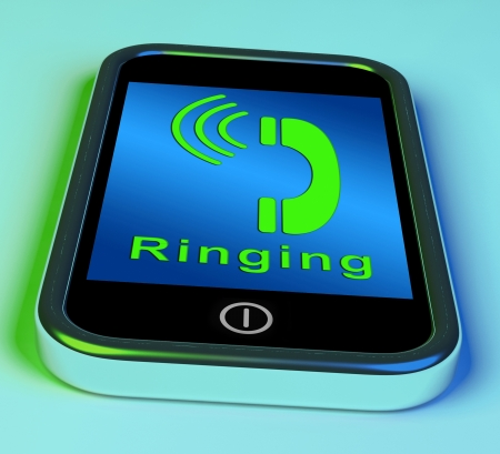 calling communication: Ringing Icon On A Mobile Phone Shows Smartphone Call Stock Photo