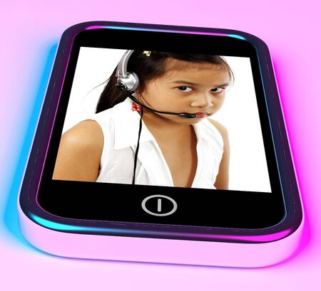 Child With A Headset Talking Over The Internet photo