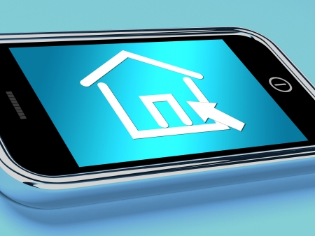 rentals: House Symbol On Mobile Screen Showing Real Estate Or Rentals