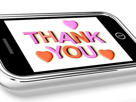 agradecimiento: Gracias y Gracias Mensaje corazones como recibida en el tel�fono m�vil