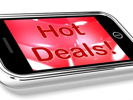 割引: オンライン割引を表す携帯電話の画面上のホットお得な情報