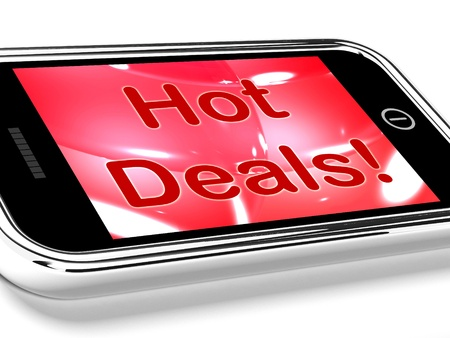 discounted: Hot Deals On Mobile Screen Representing Discounts Online