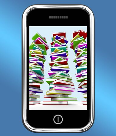 Mobile Phone With Stacks Of Books Showing Online Knowledge Stock Photo - 15084504