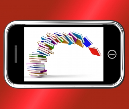 Mobile Phone With Falling Books Showing Online Knowledge Stock Photo - 15085086
