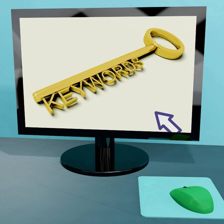 Keywords Key On Computer Showing Online Optimization Stock Photo - 15084910