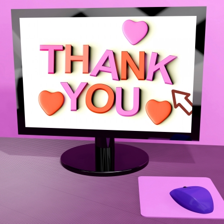 Thank You Message On Computer Screen Shows Online Appreciation Stock Photo - 15084807