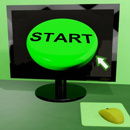 Start Button On Computer Showing Control Or Activating Stock Photo - 15084915