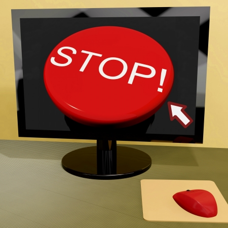 Stop Button On Computer Showing Denial Or Disapproval Stock Photo - 15084908