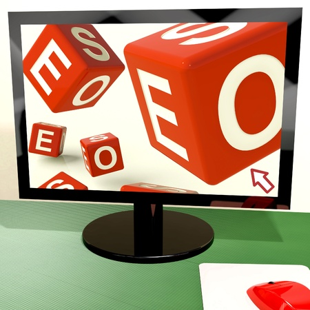 Seo Dice On Computer Shows Online Web Optimization Stock Photo - 15084458