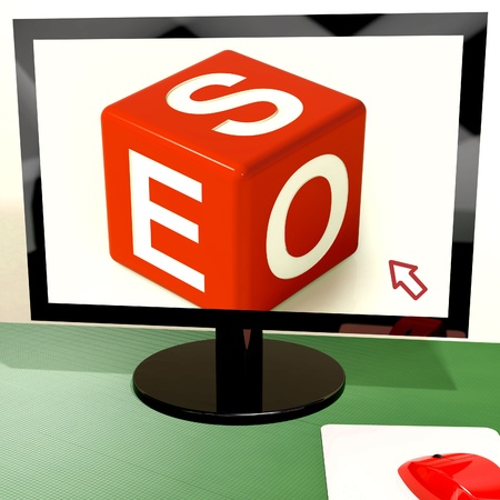 Seo Dice On Computer Showing Online Web Optimization Stock Photo - 15084801