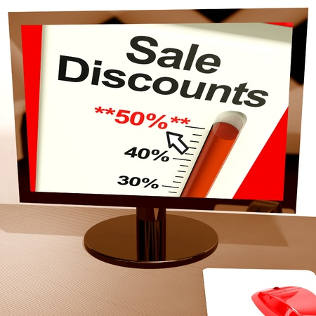 selloff: Fifty Percent Sale Discounts Show Online Bargains Stock Photo