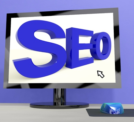 Seo Word On Computer Shows Online Web Optimization Stock Photo - 15085290