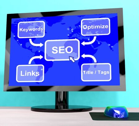 SEO Diagram Shows Use Of Keywords Links And Tags Stock Photo - 15084557