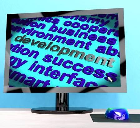 advancement: Development Word On Computer Shows Advancement  Stock Photo