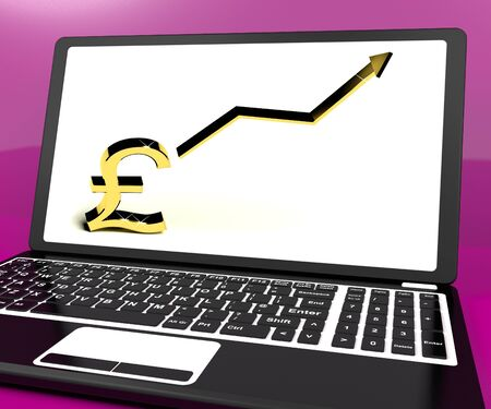 lucrative: Pound Sign And Up Arrow On Computer Shows Earnings Or Profit