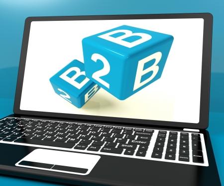 b2b: Dados B2b en el ordenador port�til Mostrando Negocios y Comercio