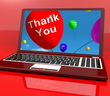 thankfulness: Thank You Balloon On Computer Shows Online Thanks Message