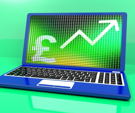 lucrative: Pound Sign And Up Arrow On Laptop Shows Earnings Or Profit