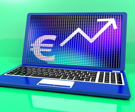 lucrative: Euro Sign And Up Arrow On Laptop Shows Earnings Or Profit